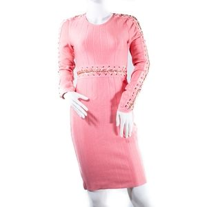 Wow Couture Pink Sweater Bandage Dress S